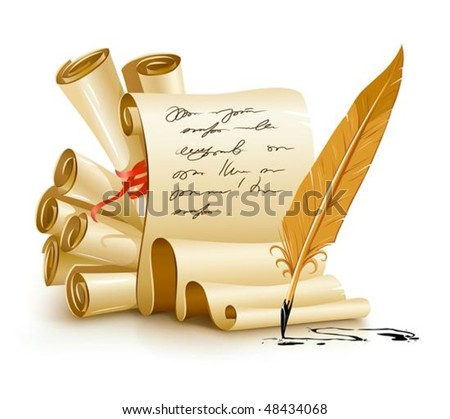 paper scripts with handwriting text and old ink feather vector illustration, isolated on white background. Gradient mesh used for shadow drawing.