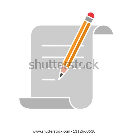 Paper scroll with text and pencil glyph color icon. Handwriting. Document, certificate, manuscript. Silhouette symbol on white background with no outline. Negative space. Vector illustration #1112660510