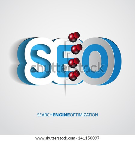 Paper Search optimization concept sign with drawing pin - vector theme