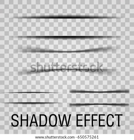 Paper Set sheet shadow effect. Vector transparent realistic shadows.