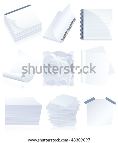 Paper set, vector illustration
