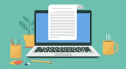 paper sheet and electronic text file writer, copywriter writing letter or journal via laptop computer, flat vector illustration