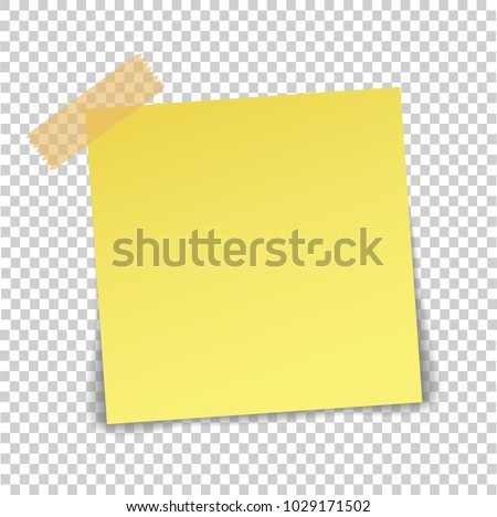 Paper sheet on translucent sticky tape with shadow isolated on a transparent background. Empty yellow note template for your design. Vector illustration