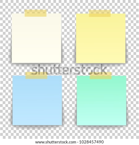 Paper sheet on translucent sticky tape with transparent shadow isolated on a transparent background. Empty yellow note template for your design. Vector illustration.
