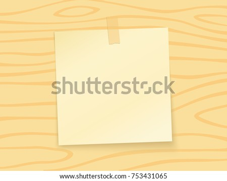 Paper sheet pin on translucent sticky tape on a wooden plank background. Vector illustration.