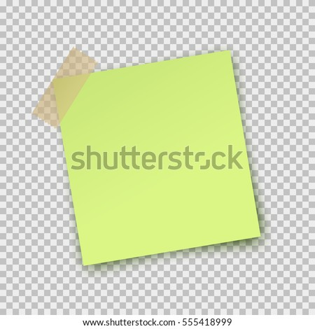 Paper sheet pin on translucent sticky tape with shadow isolated on a transparent background. Empty lime note template for your design. Vector illustration.