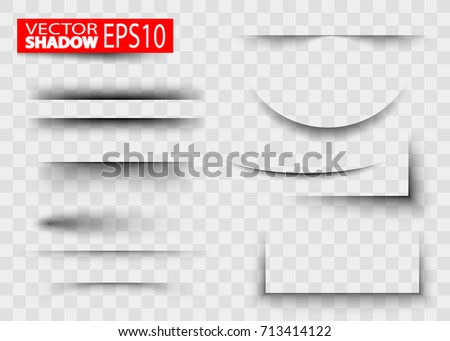 Paper sheet shadow effect. Transparent realistic paper shadow effect. White blank paper cuts circle oval square rectangle with shadow and transparent effects realistic set. Realistic shadow effect