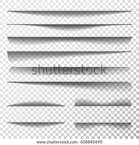 Paper Sheet Shadow Effect Vector. Line Shadow With Multiply Layer Effect. Transparent Realistic Paper Shadow Effect Set.