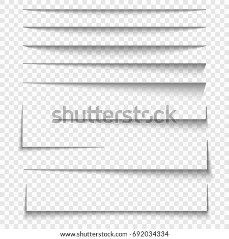 Paper sheet shadow effect. Vector transparent realistic shadows set.