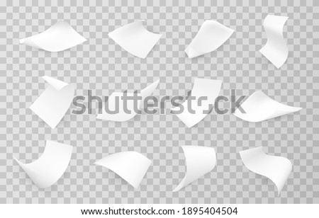Paper sheets flying, falling realistic mockups set. Blank advertisement, announcement, document, empty shopping bill, till receipt, invoice template, layout. Vector sheets isolated on transparent.
