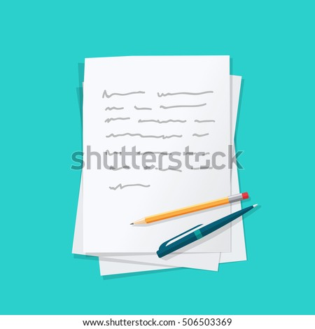 Paper sheets pile with abstract written text content, pen and pencil top vector, concept of writing or creating letter story, essay or message, author education,  workplace table isolated  Stock photo ©