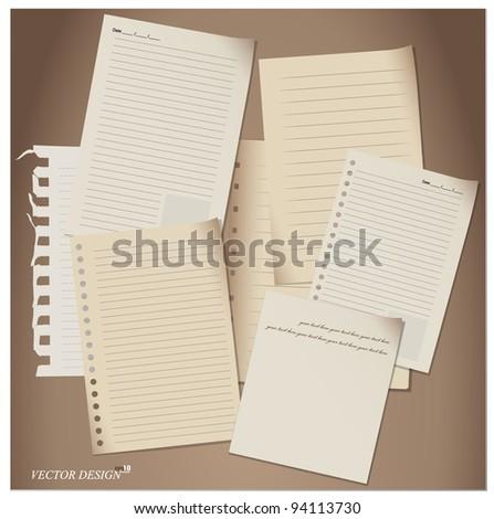 Paper Sheets set. Vector Illustration.