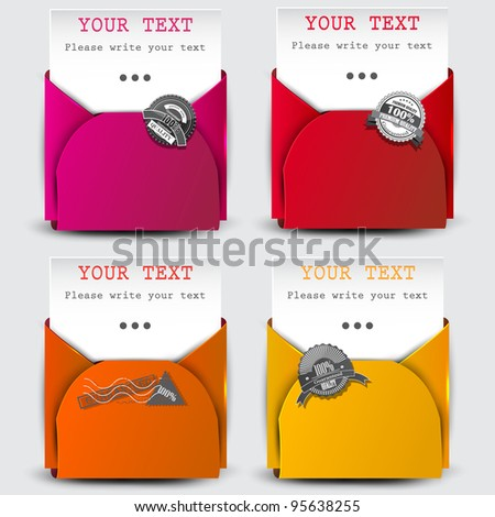 Paper sheets with envelopes for text