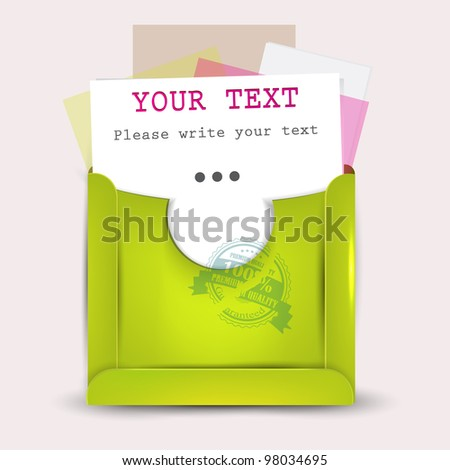 Paper sheets with envelopes for text - stock vector