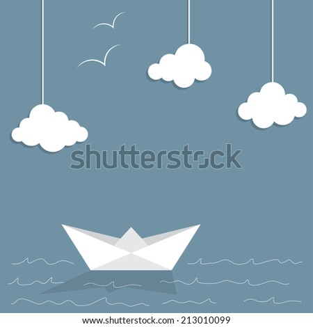 Paper ship and clouds with doodle sea waves and seagulls