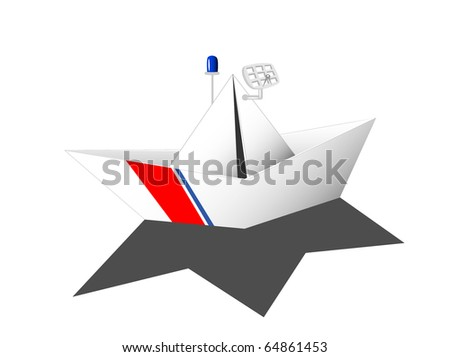 paper ship with colours of coast guard