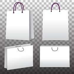Paper shopping bags set on transparent background. Elements for your design. Vector eps 10.