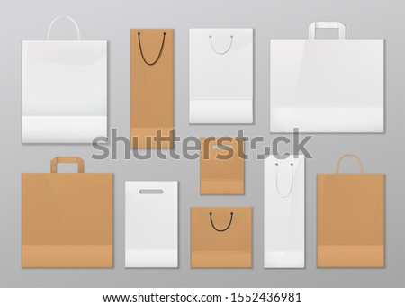 Paper shopping bags with handles. Vector isolated mockups of bags, sale containers to carry goods from shop. Disposable or reusable empty market packages with ropes, rectangular and square store packs