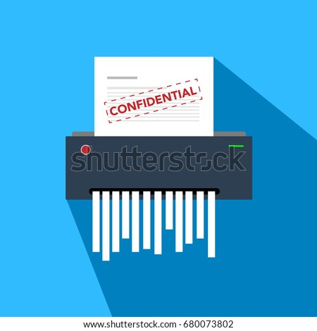 paper shredder confidential icon and private document office information protection Foto stock ©
