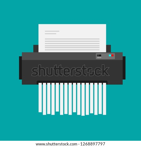 paper shredder confidential icon and private document office information protection. flat vector illustration Foto stock ©