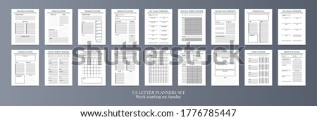 Paper size A4 Vector Planner templates set. Blank vertical notebook page. Business organizer.Calendar daily, weekly, monthly, yearly, habit tracker, project, notes, goals. Week starts on Monday