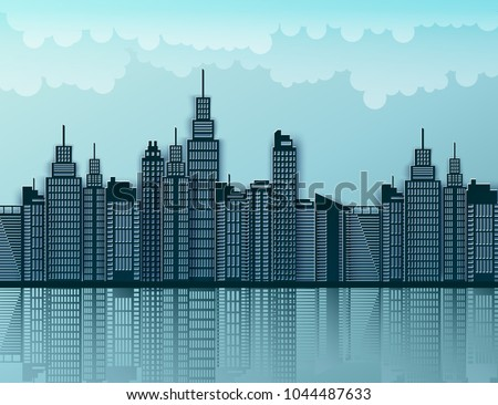 Paper skyscrapers. Achitectural building. Modern city skyline building industrial paper art landscape skyscraper offices, clouds. Vector Illustration