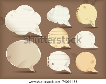 Paper speech bubbles- round - stock vector