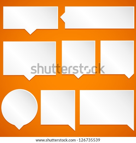 Paper Speech Bubbles - Set of paper speech bubbles isolated on orange background.