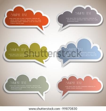 Paper speech bubbles.Vector set