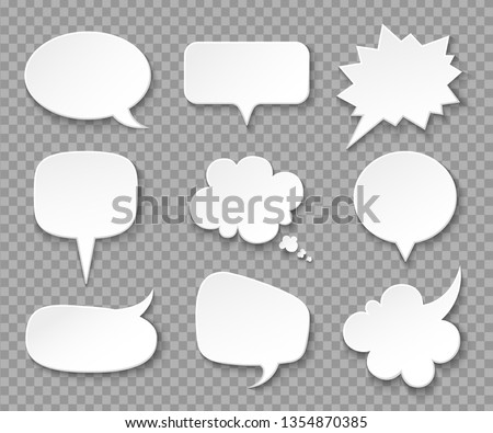 Paper speech bubbles. White blank thought balloons, shouting box. Vintage speech and thinking expression vector bubble set. Speak message cartoon graphic cloud shape