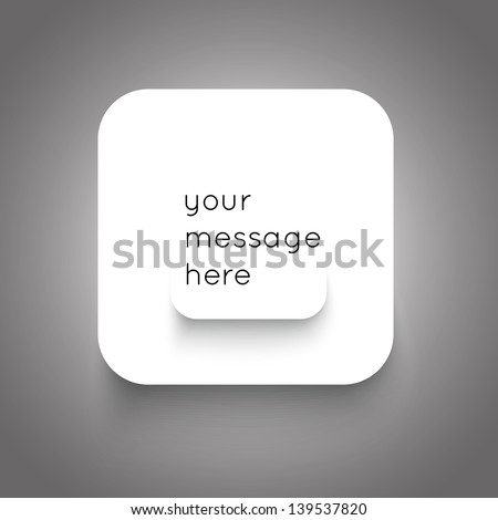 Paper squares on grey background. Modern style notification button for your web design, business presentation or other