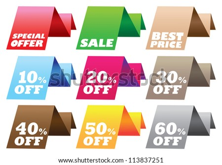 Paper stand discount labels with different messages. Vector illustration.