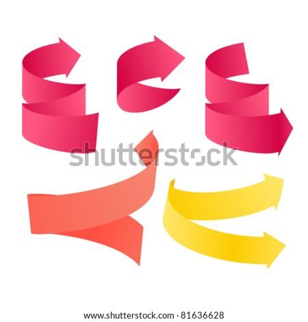Paper stayle vector navigation arrows