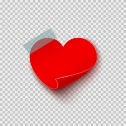 Paper sticker in heart shape on translucent sticky tape with shadow isolated on transparent background. Vector empty note post template for Happy Valentine's Day or Mother Day design