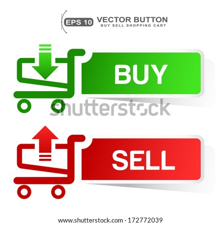 paper sticker shopping cart  BUY  SELL banner button with shadow isolated on white