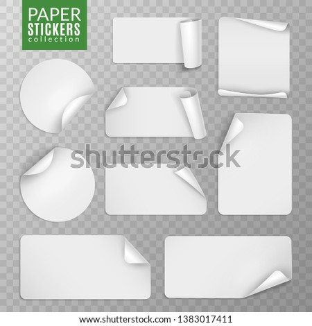 Paper stickers set. White label sticker page, blank badge bent note sticky banners curled corners wrapped sheets. Vector isolated collection