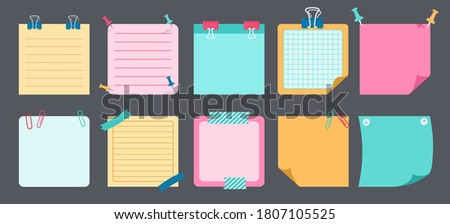 Paper sticky note flat set. Blank notes with elements of planning. Notebook collection with curled corners, push pins. Various tag business office, writing reminds. Isolated vector illustration Stock photo ©