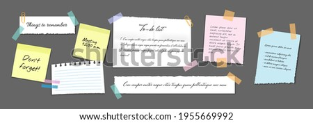 Paper sticky notes, memo messages, notepads and torn paper sheets. Blank notepaper of meeting reminder, to do list and office notice or information board with appointment notes. Vector eps 10 Stock photo ©