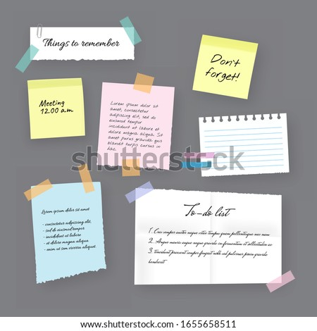Paper sticky notes, memo messages, notepads and torn paper sheets. Blank vector notepaper of meeting reminder, to do list and office notice or information board with appointment notes eps 10