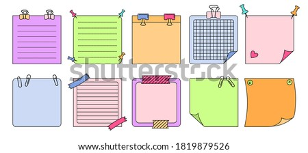 Paper sticky notes with elements planning set. Blank notes memo messages. Notebook collection with curled corners, push pins. Various linear tag business office, writing reminds. Isolated vector