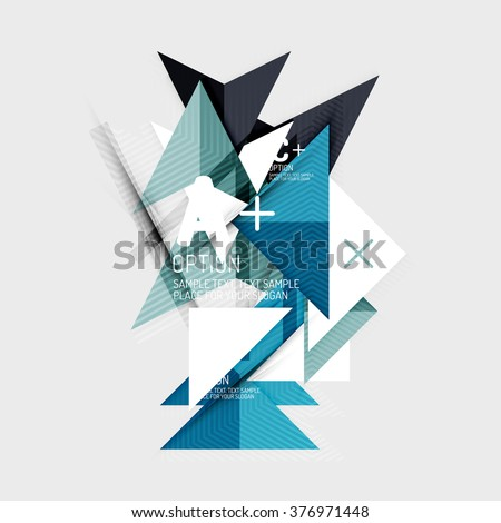 Paper style abstract geometric shapes with infographic options #376971448