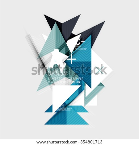 Paper style abstract geometric shapes with infographic options. Abstract universal design template. Vector illustration #354801713