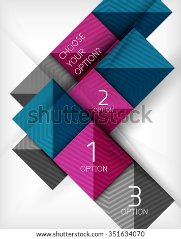 Paper style design templates, square abstract background, geometric layout. Vector infographic illustration