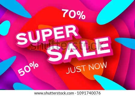 Paper Super Sale. Discount Poster in paper cut style. Special Offer Banner.
