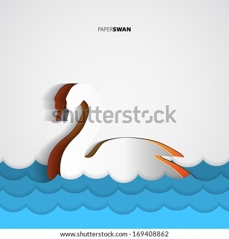 paper swan   greeting card