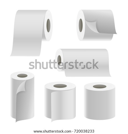 Paper Tape Roll Set Vector. Bathroom Hygiene. 3D Toilet Paper Blank. Packaging Kitchen Towel, Toilet Paper Roll Isolated Illustration