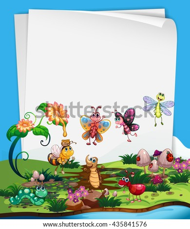 paper template with insects in