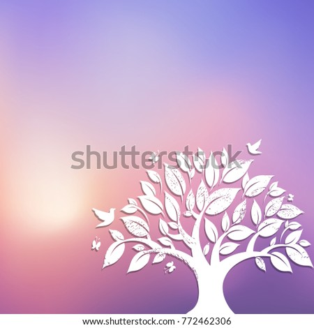 paper tree and bird background