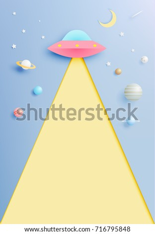 Paper UFO beam and solar system paper art with pastel tone background vector illustration