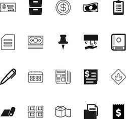 paper vector icon set such as: power, reportage, home, clipart, report, building, accounting, businessman, article, checklist, exchange, idea, press, flammable, daily, book, estate, catalog, thumb